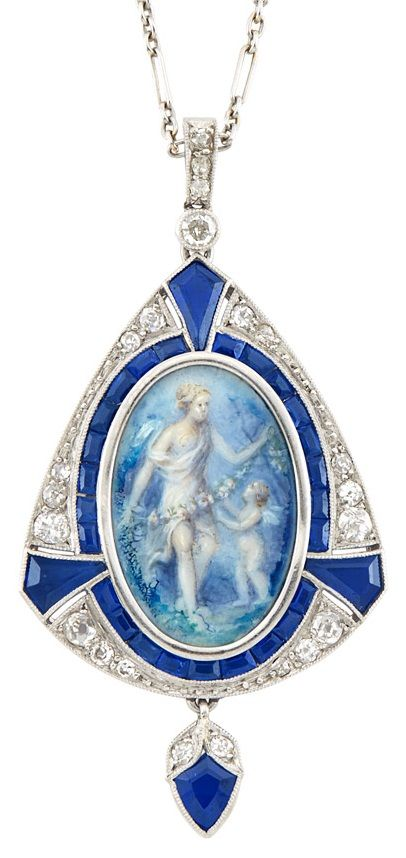 An Art Deco Platinum, Sapphire, Diamond, 'Grace and Cupid' Painted Miniature Pendant and Chain, France, Circa 1920. Four fancy and 25 square-shaped sapphires, 22 old European and single-cut diamonds, pendant with partial French assay mark. #ArtDeco #pendant
