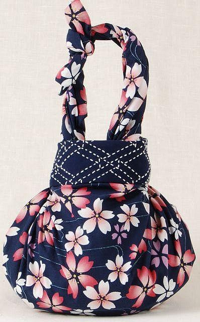 sashiko stitched 2 knot furoshiki bag