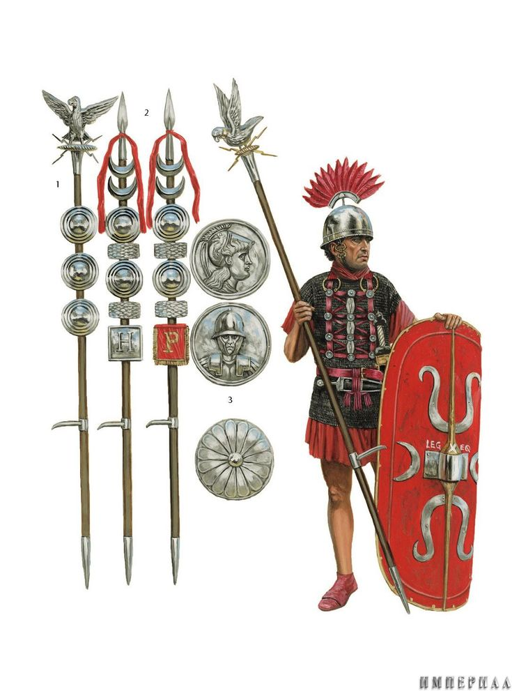 Aquilifer de la Legio X en tiempos de la conquista de las Galias por Julio, junto a estandartes de las Cohortes y los discos de bronce que unidos formaban un phalerae. Cortesía de Seán Ó'Brógáin. http://www.elgrancapitan.org/foro/viewtopic.php?f=87&t=16979&p=932741#p932582