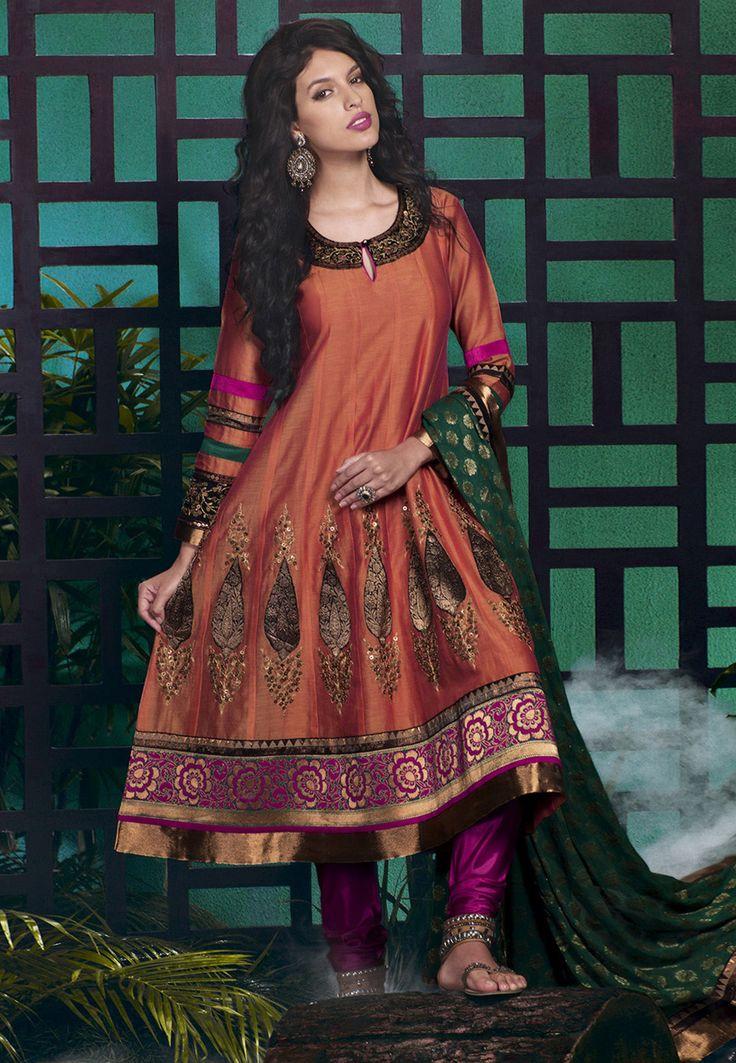 Buy Embroidered Art Silk Anarkali Kameez in Rust online, work: Embroidered, color: Rust, usage: Festival, category: Salwar Kameez,…