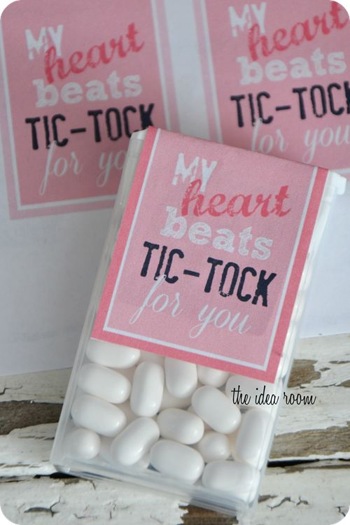 Classroom Valentines--My heart beats Tic Tock for you | theidearoom.net