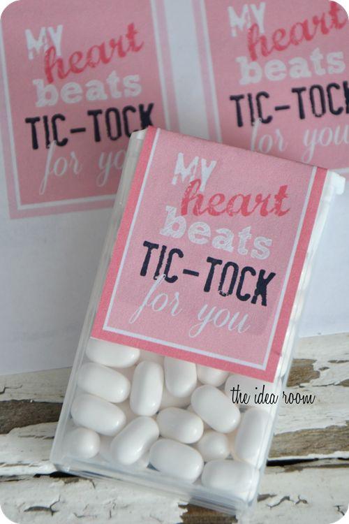 Classroom Valentines--My heart beats Tic Tock for you | theidearoom.net