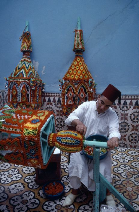 Morocco.Sale.Fabrication of the candles used for the procession.1991