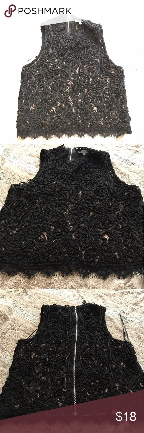 Edgy Black Lace/Textured Crop Top Be bold in this textured/ Lace black crop top from Charlotte Russe. Perfect for work or happy hour after. Full zipper up the back for added flair and comfort. In great used condition. Charlotte Russe Tops Crop Tops