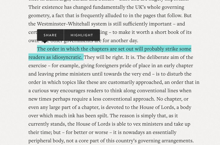 Toolbar for highlighting text  https://www.pelicanbooks.com/who-governs-britain/preface