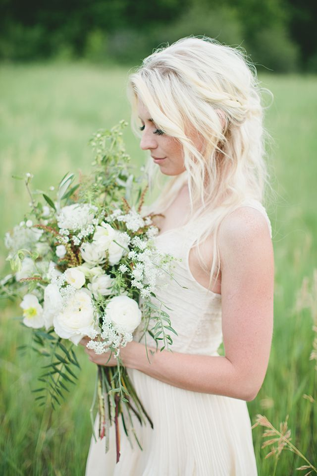 green and white wildflower bouquet