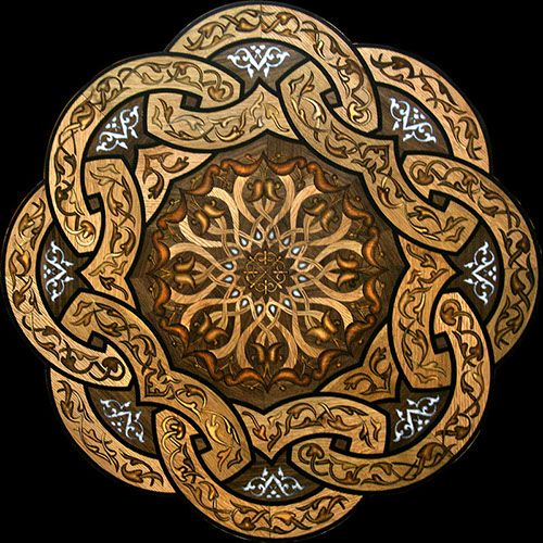 """""""Imperial Knot"""" wood flooring medallion. This medallion features wood & stone combination technique."""
