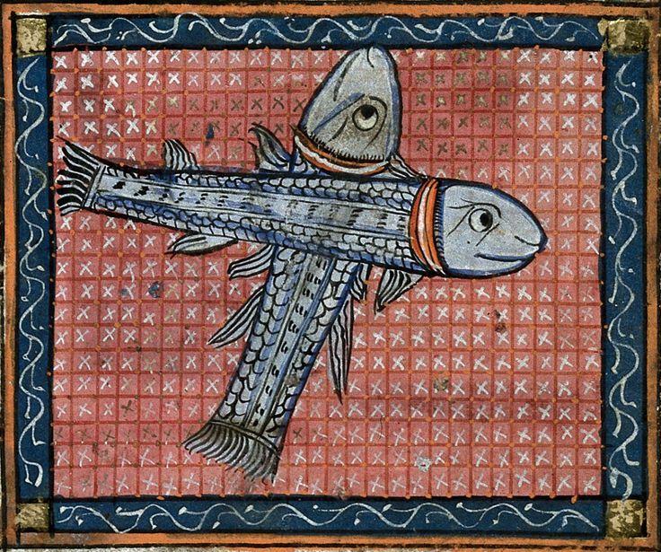 sign of Pisces Matfre Ermengau, Breviari d'amor, Occitania ca. 1300-1350 BL, Harley 4940, fol. 30v
