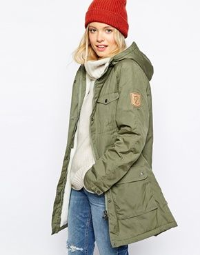 Fjallraven Hooded Parka Coat With Shearling Lining