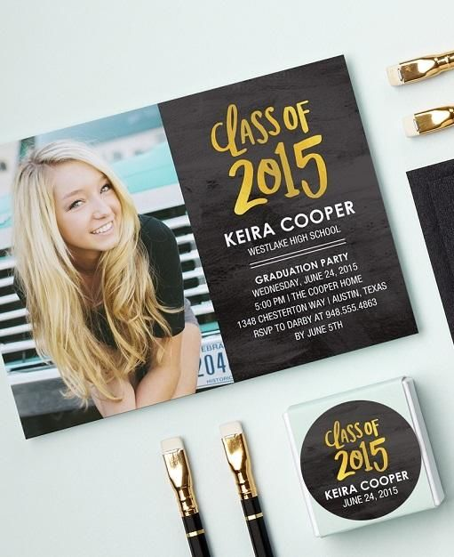 Create personalized graduation announcements to kick off your party with plenty of pizzazz.   Tiny Prints