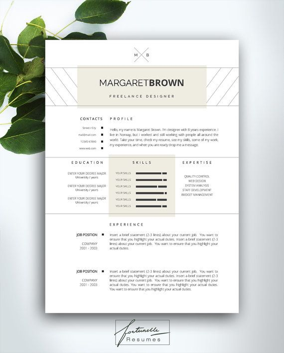 resume template 4 page    cv template   cover letter    instant download for ms word     u0026quot margaret