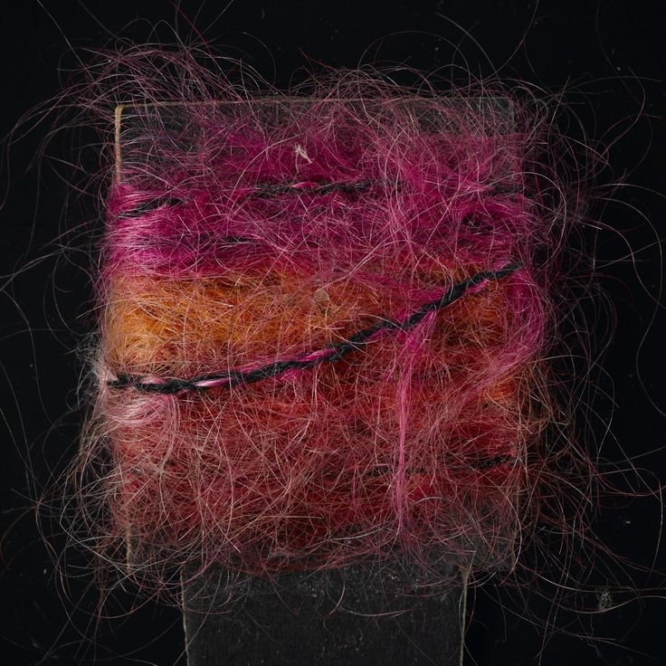 Yarn sample, pink, orange and red space-dyed mohair