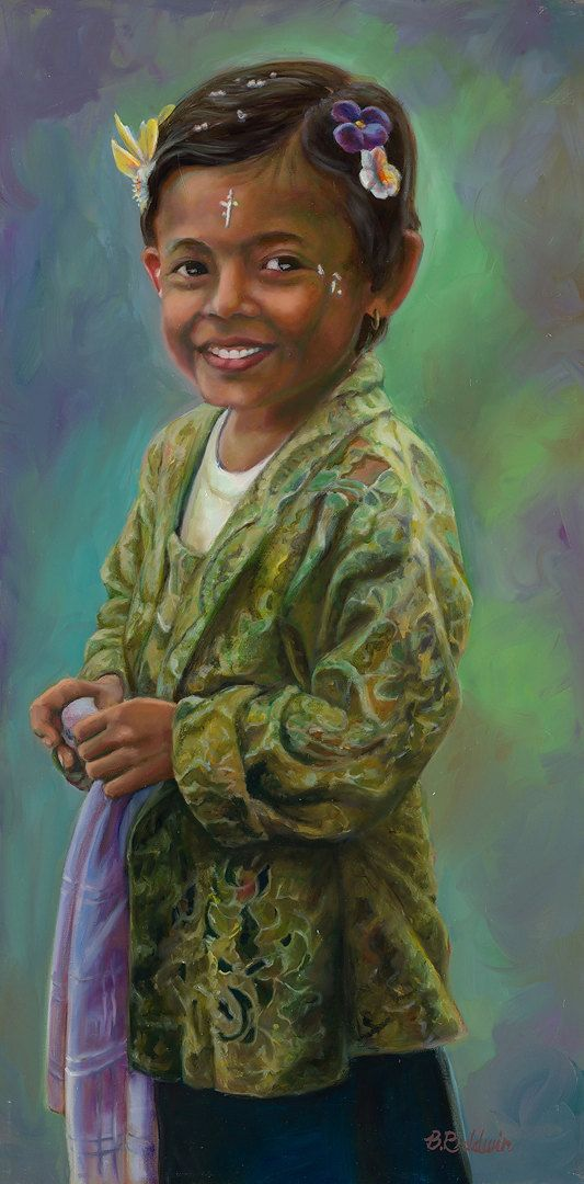 """Oil Painting """"Girl in Green Lace Jacket"""" Oil painting inspired by the everyday beauty of life in Bali, Indonesia. on Etsy, $1,195.00"""