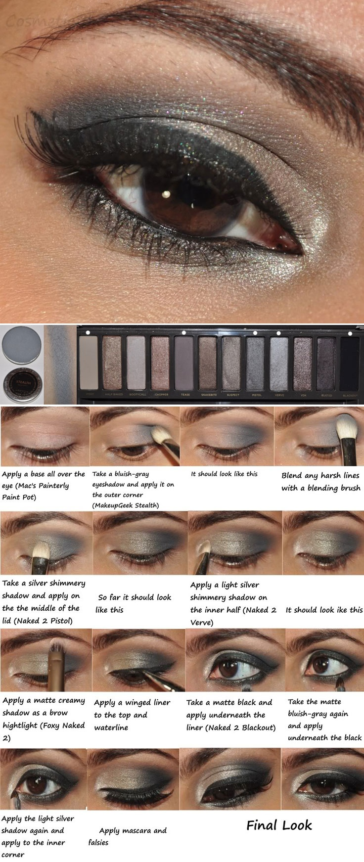 DIY :: Silver Smokey Eyes (NAKED 2) by #cosmeticblur :: You'll Need base (MAC Painterly), MUG Stealth (bluish-gray matte), Naked 2 Palette...LtoR: Foxy, Tease, Pistol, Verve & Blackout & a gel liner (Clinique True Black) :: CLICK for the VIDEO TUTORIAL | #naked2 #naked2palette #nakedpalette