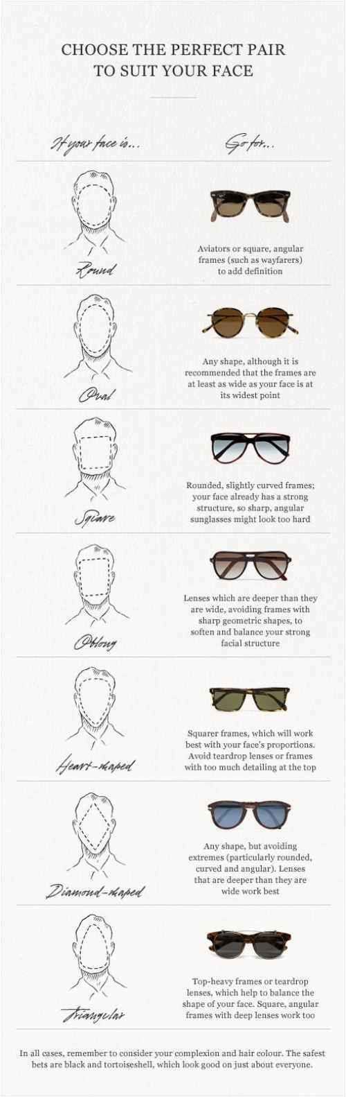 "Sunglasses and face shape. | 36 Essential ""Manly"" Life Hacks That Every Person Should Know"