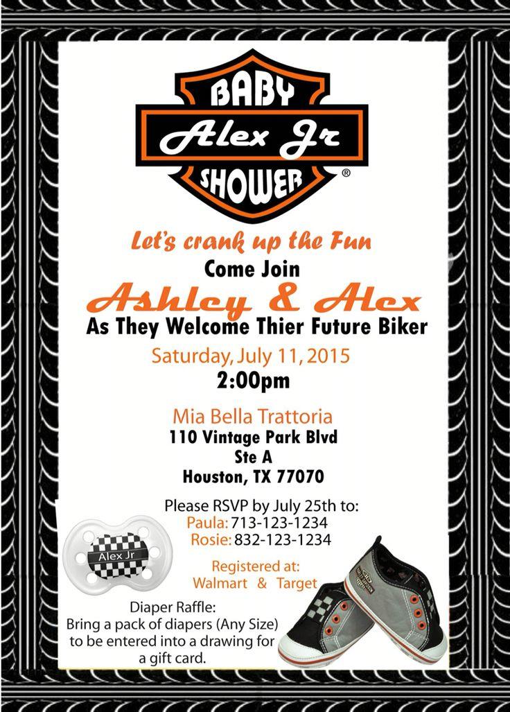 Harley Davidson Babyshower Invite Harley Davidson Baby Shower Baby Shower Motorcycle Harley Baby