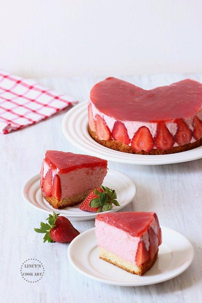 Eggless Strawberry Mousse Cake Recipe