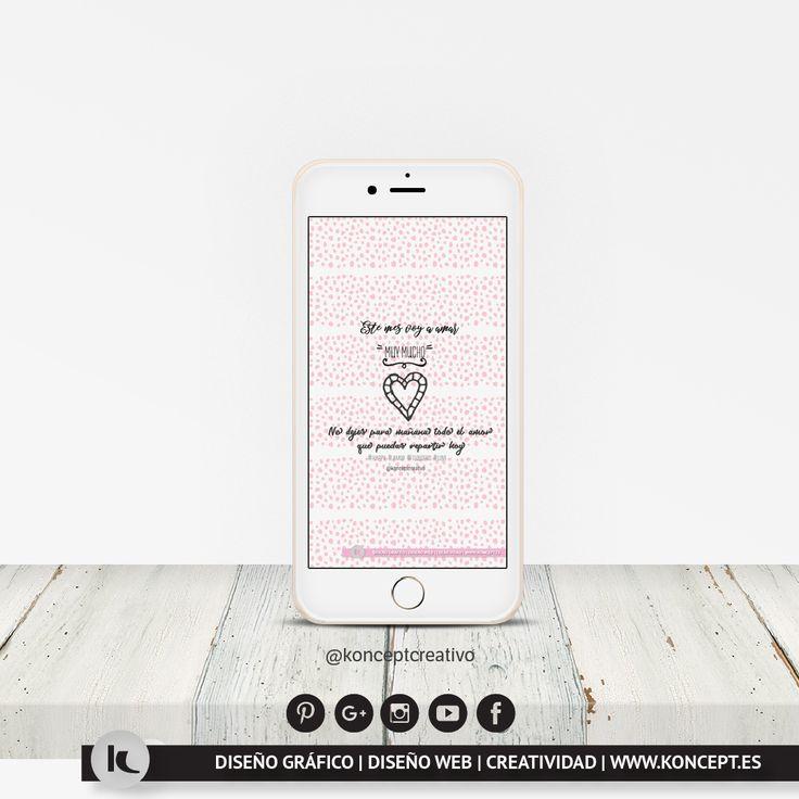"""Este mes es el mes por excelencia del amor, siendo el día 14 de febrero el día de San Valentín """"día de los enamorados"""". Pero en Koncept como creemos que para querer todo los días son buenos os hemos diseñado unos fondos de pantalla para ordenador, smartphone o tablet la mar de chulos que os recordarán que para amar """"muy mucho"""" no hay día específico si no que todos los días son perfectos. Entrad en nuestro blog y a descargar!. #wallpaper #fondospantalla #diseñograficobarcelona…"""