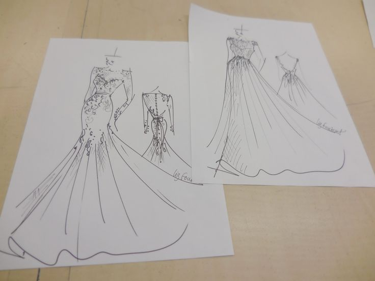 Just some sketches done by our designer at Caleche. Every Caleche brides receives a sketch of their bridal gown.