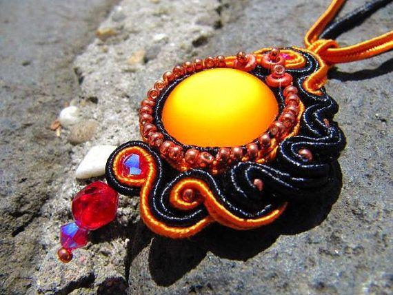 Beautiful soutache pendant with Swarowski and Lunasoft beads