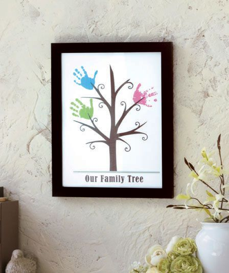 Framed handprint wall art abc distributing love home for Family tree picture wall ideas
