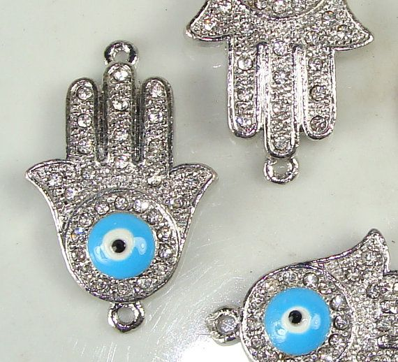 2 Evil Eye Hamsa Bracelet Bar Pave Rhinestone Hand by beadgiant