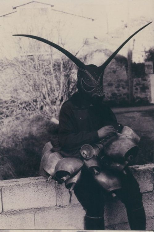 Krampus [Krampus is a beast-like creature from the folklore of Alpine countries thought to punish children during the Christmas season who had misbehaved, in contrast with Saint Nicholas, who rewards well-behaved ones with gifts.]