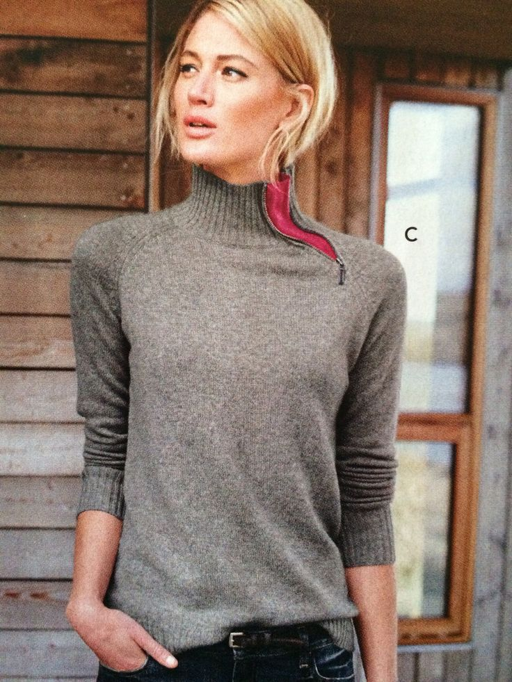 Add a zipper to existing sweater for visual interest.