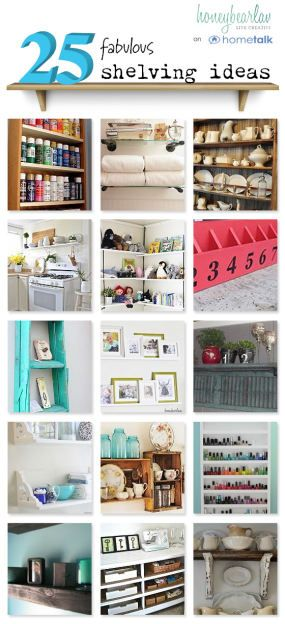 Ready to get your shelves organized? Look at these space saving ideas - 25 shelving ideas for your home. These DIY tips can transform your home. #organization