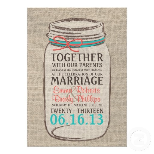 """Cute idea for a """"Save the Date"""" card - coral and teal country wedding theme"""