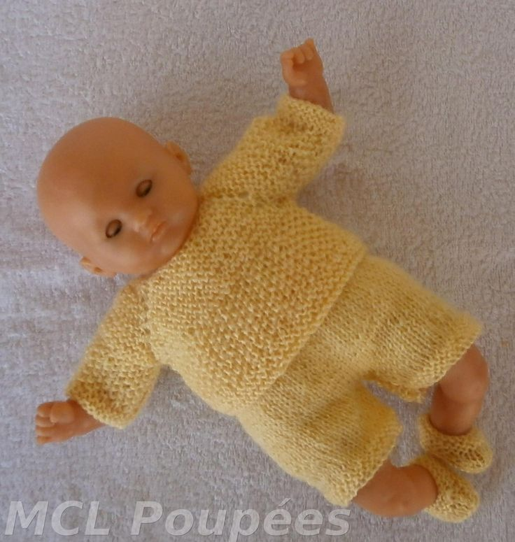 Habits poupon 30 cm - ensemble layette jaune au tricot : Jeux, jouets par mcl-poupees