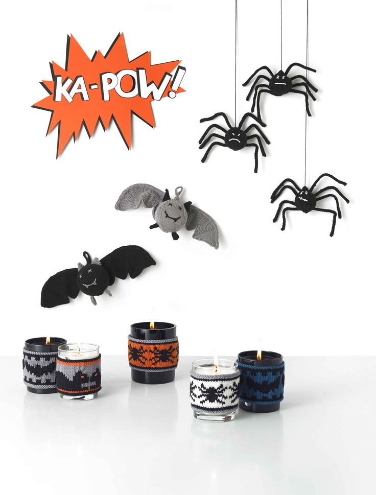free halloween knitting patterns thanks to millamia make candle covers bats and spiders - Free Halloween Knitting Patterns