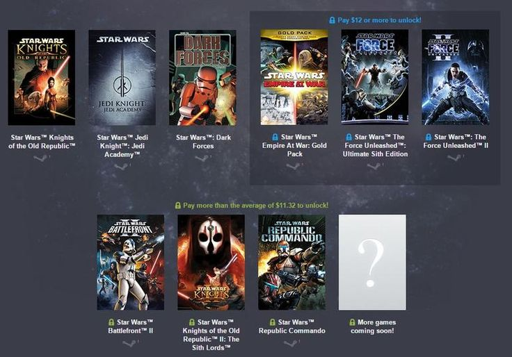 Get nine Star Wars PC games for $12  This amazing collection includes everything from Dark Forces to The Force Unleashed II. May the bundle be with you.      by Rick Broida     @cheapskateblog     February 4, 2015 6:42 AM PST