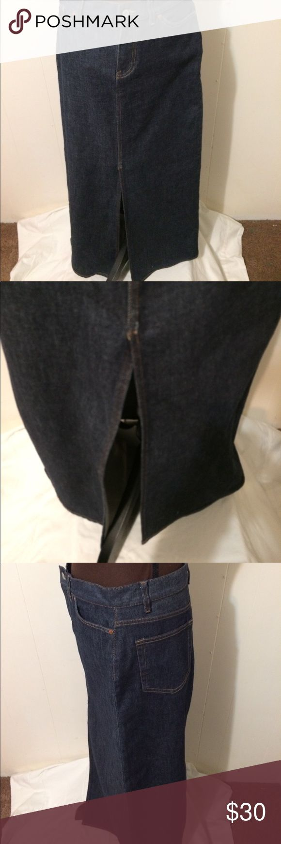 """Gap Jeans Full Length Denim Skirt Gap Jeans Full Length Stretch Denim Skirt Size 8 Front Slit  NWOT. Waist 32"""". Rise 17"""" Length 40""""  98% Cotton 2% Lycra Spandex GAP Skirts A-Line or Full"""