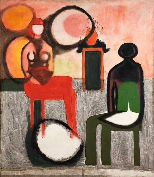 painting by Andrzej Wróblewski, oil on canvas, 1957, Kompozycja Rodzina / Family Composition