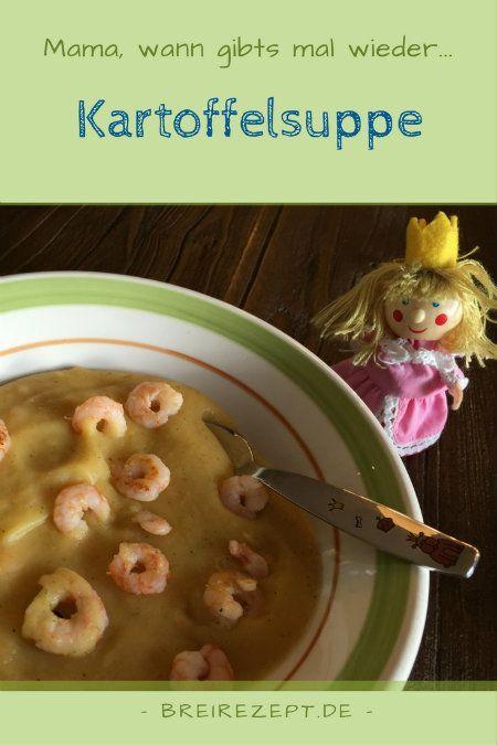 Kartoffelsuppe mit Gemüse und einem beliebigen Topping wie Garnelen oder Würstchen eignet sich wunderbar für Baby und Kleinkind auf dem Weg von der Beikost zur Familienkost. Mit dem Pürierstab und etwas Sahne erhaltet ihr aus Kartoffeln und Möhren eine leckere und sättigende Cremesuppe, die sich als Kinderrezept ab dem 10.Monat eignet: http://www.breirezept.de/rezept_kartoffelsuppe.html