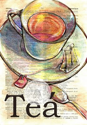 Tea' Mixed Media Drawing on Distressed, French/English DIctionary - flying shoes art studio