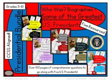 Save $4.00!! This is a bundle of five U.S. Presidents' reading comprehension packets. Each file in the zip is designed to go along with the following Who Was? presidents' biographies:Who Was Thomas Jefferson?Who Was Ulysses S. Grant?Who Was Woodrow Wilson?Who Was Theodore Roosevelt?Who Was Franklin Roosevelt?Each packet in the zip contains the following:- Who Was? - book level information- Readability stats of student pages- Common Core State Standards- 9 student pages directly aligned to…