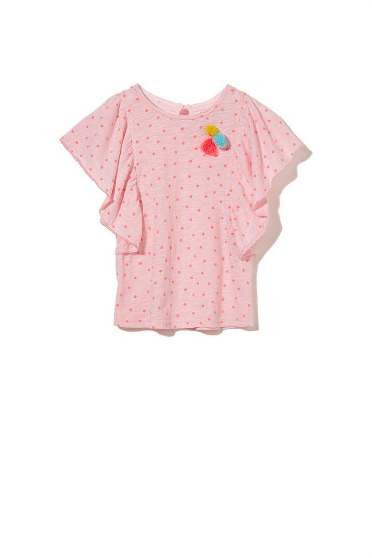 Macy Flutter Sleeve, WILD FLOWER/FIZZY PINK SPOT