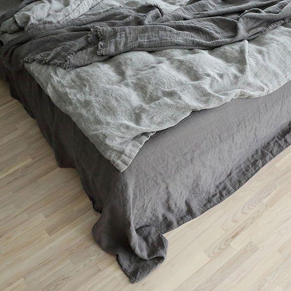 Sábana Bajera Ajustada de Lino Steel Grey Stone Washed - Lino de Cama - LinenMe