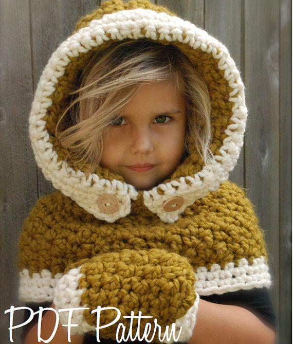 Crochet Pattern-Le capot Feryn / Set Mitten (3/6, 6/12, 12/18 mois, bébé, enfant, tailles adultes)