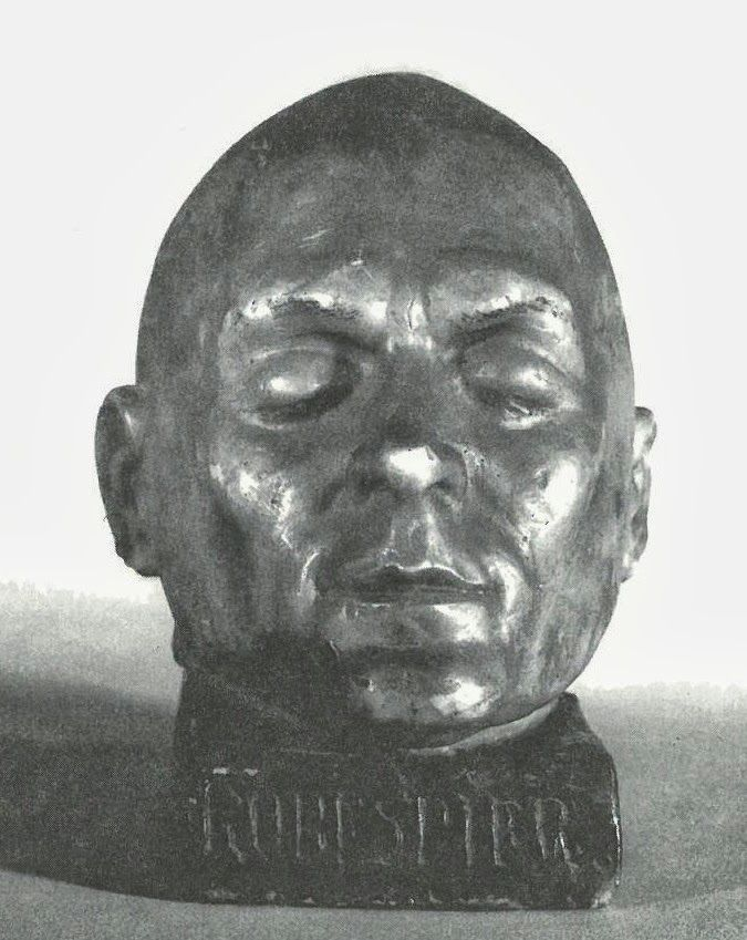 Death mask of French Revolutionary & member of the Committee of Public Safety, Maximilien Robespierre (1758-1794) who was sent to the guillotine in 1794.