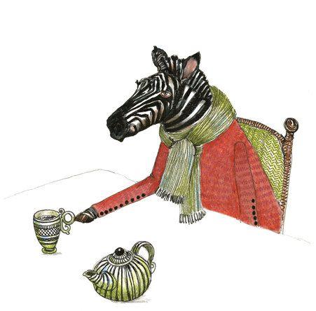 Zebra Print Zebra Tea Time illustration Print by ChasingtheCrayon