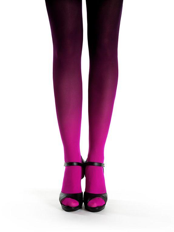 Magenta-black ombre tights