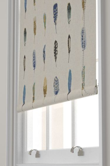 Limosa Indigo/Mustard/Stone  Roller Blinds by Harlequin. Rows of delicate, pretty coloured feathers create a pleasing stripe effect. Created on a linen mix base. Shown in the shades of blue with beige colourway. Please request sample for true colour match.
