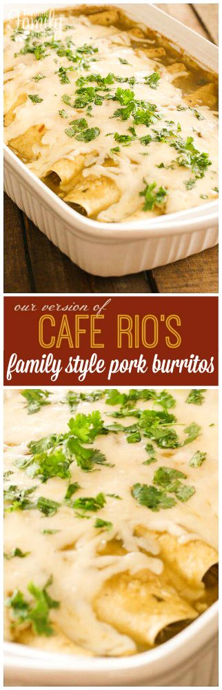 Cafe Rio Pork Burritos you can get on the table in no time! Shredded sweet pork burritos served enchilada style in portions perfect for family dinner. via @favfamilyrecipz