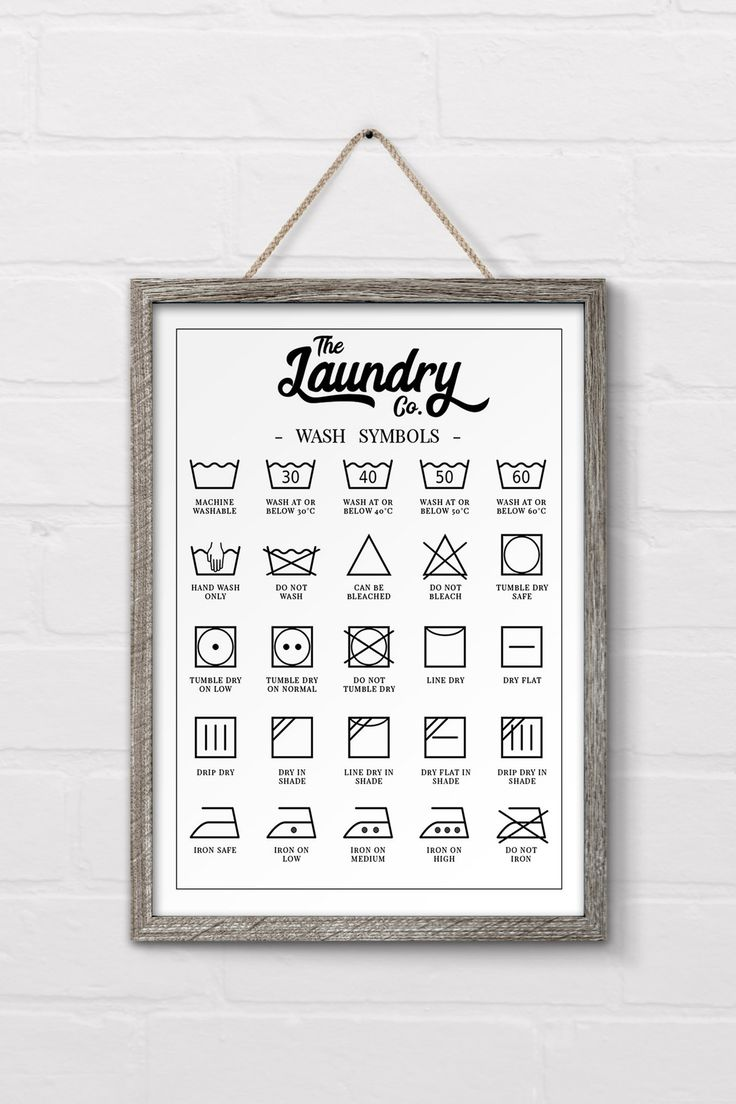 Free printable laundry symbols wall art