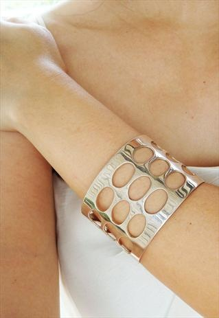sterling silver cuff bangle in industrial look