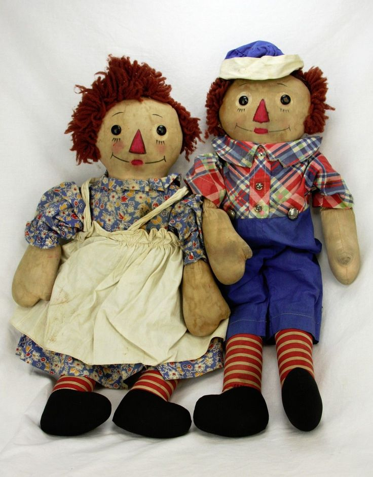 Vintage Georgene Raggedy Ann and Andy Dolls with Black Outline Noses Ca1930 | eBay