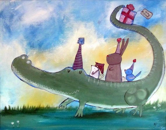 Kids Wall Art, Original Painting for Children, Storybook Style Art, Alligator Kids Room Decor, Bunny, Mouse, Bird, Animals, Birthday Party